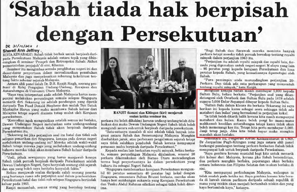 Sabah Tiada Hak Berpisah Dengan Persekutuan
